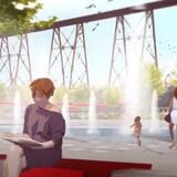 Le futur secteur du parc nautique, à proximité de la rivière Cap-Rouge, avec des fontaines et de l'aménagement urbain.