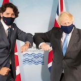 Prime Minister Justin Trudeau meets with British Prime Minister Boris Johnson at the G7 Summit in Carbis Bay, an oceanside village in southwest England, on Friday June 11, 2021.