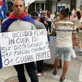 Felix Blanco, who grew up around the tourist city of Varadero, Cuba, attends a protest in Montreal on July 24, 2021. (Evan Dyer)