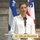 Geneviève Guilbault en point de presse.
