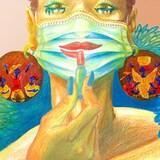 Un dessin d'une femme mettant du rouge à lèvre sur