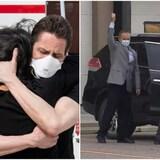 Michael Kovrig abraza a su esposa, Vina Nadjibulla, tras su llegada a Toronto. Michael Spavor, a la derecha, sale del aeropuerto internacional de Calgary.