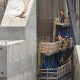 Workers on the construction site of the hydroelectric facility at Muskrat Falls, Newfoundland and Labrador on Tuesday, July 14, 2015.