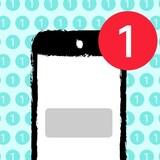 """Illustration d'un téléphone cellulaire avec une pastille rouge de notification dans le coin supérieur droit. L'arrière plan de la photo est une série de pastilles de notifications avec un petit """"1"""" à l'intérieur."""