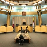 A wide shot of the empty Nunavut Legislature.