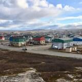 A wideshot of the Kuujjuaq skyline.