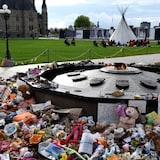 A memorial for children who died at residential schools is seen at the Centennial Flame on Parliament Hill in Ottawa.