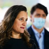 Minister of Finance and Deputy Prime Minister Chrystia Freeland joins Prime Minister Justin Trudeau during a news conference as they visit the Children's Hospital of Eastern Ontario in Ottawa on Thursday, Oct. 21, 2021.