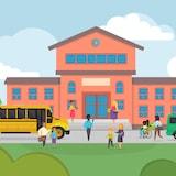Illustration montrant plusieurs personnages avec un bus scolaire devant une école.