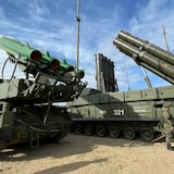 A Russian soldier stands beside a Buk missile system at the Donguz training range in southeast Russia last week.