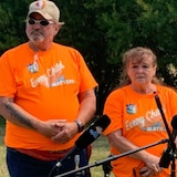 Doug Montgomery and Donna McBain own a 13-acre field on the northeast edge of the tiny hamlet of Delmas, Sask. The couple gave briefs remarks in Delmas this past weekend as Battlefords Agency Tribal Chiefs began its search for unmarked graves related to a residential school in the area.