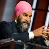 NDP Leader Jagmeet Singh takes part in CBC The National's Face to Face, hosted by Rosemary Barton, on Sept. 14.