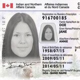 加拿大原住民的身份证件(样本)。