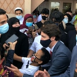 """""""This community has never been afraid of a little hard work and neither am I,"""" Trudeau said before leaving the Hamilton Mountain Mosque."""