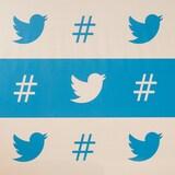 """Plusieurs logo de Twitter et plusieurs signe typographiques de croisillon, désignant le fameux mot-clic ou """"hashtag""""."""