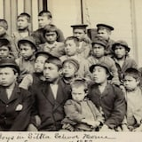 This photo made available by the Presbyterian Historical Society, Philadelphia, shows students at a Presbyterian boarding school in Sitka, Alaska, in the summer of 1883. U.S. Catholic and Protestant denominations operated more than 150 boarding schools between the 19th and 20th centuries