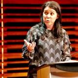 Marie-Josée Savard, candidate à la mairie de Québec, intervient lors d'un débat.