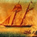 Peinture contemporaine de la goélette Amistad en 1839. On y voit l'Amistad au centre ainsi que le bateau de la marine américaine à gauche.