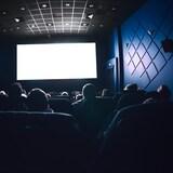 Une petite salle de cinéma dans l'obscurité.
