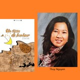 La couverture du recueil de poésie Un tissu de bonheur et l'auteure Thuy Nguyen.