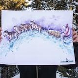 Une illustration de Gorellaume, artiste de Whitehorse, pour la course Yukon Quest ou l'on voit des chiens tirant un traîneau.