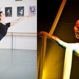 Le danseur Michel Lavoie et l'artiste de cirque Lyne Gosselin.
