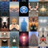 Mozaïque d'images colorées: des cignes, des chatons, des oiseaux, la terre, de l'eau, des cadres, des nuages, etc.