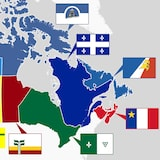Carte du Canada avec les drapeaux des différentes communautés francophones du pays.