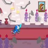 Capture d'écran d'un jeu vidéo où on voit un chevalier muni d'une épée qui court dans le couloir d'un château.
