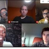 Capture d'écran d'une table ronde radiophonique avec 4 invités.