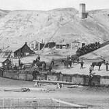 Des travailleurs et des chevaux sur un site minier.