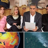Montage de trois images : scène de Schitt's Creek en haut, et visualisation de la température planétaire et vue aérienne des feux de forêt.