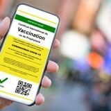 Gros plan sur une main tenant un téléphone avec une application attestant que le porteur du certificat a été vacciné contre la COVID-19.