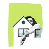 dessin d'une femme passant son bras autour d'une maison.