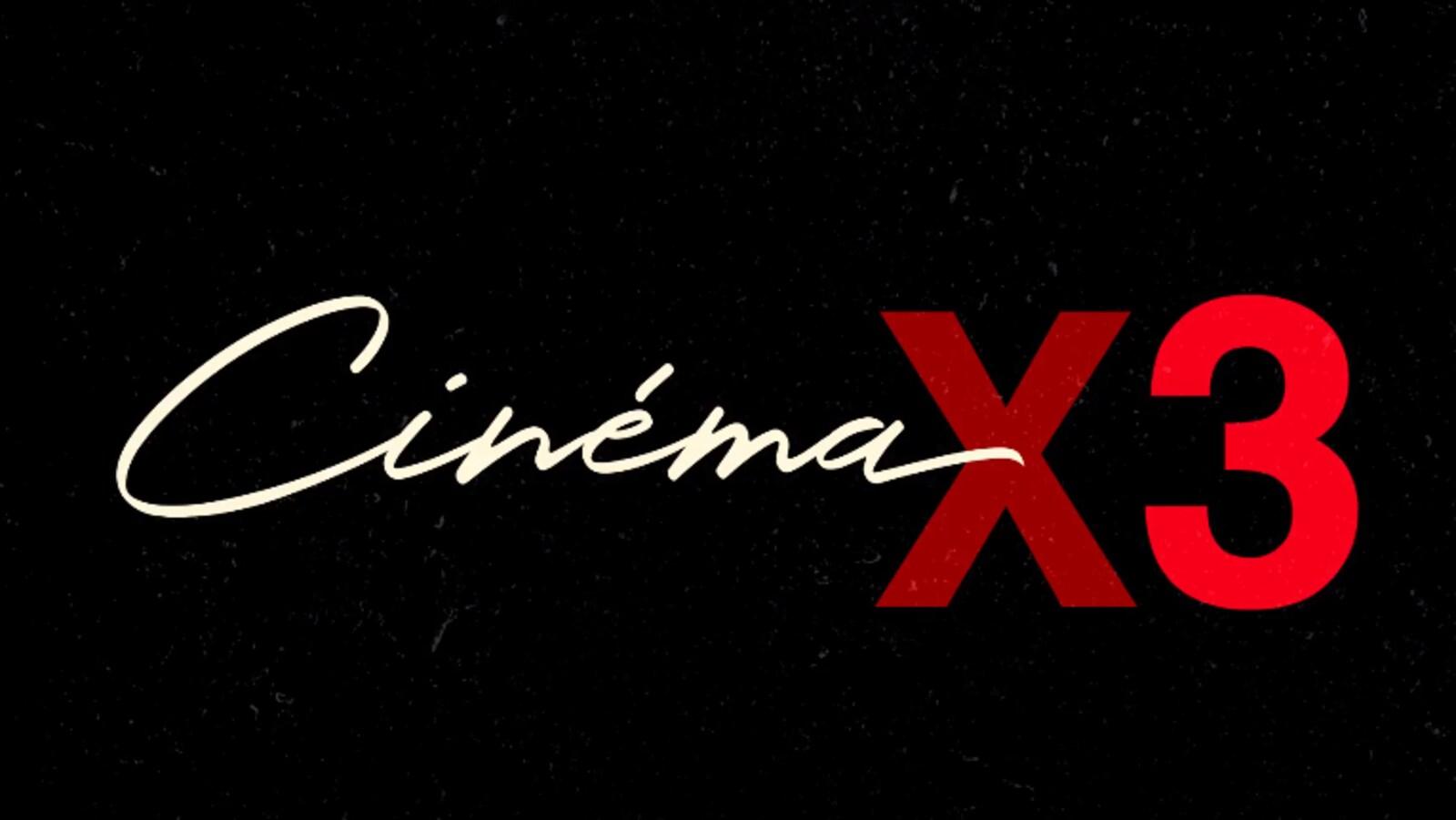 """""""Cinéma x 3"""" est écrit en blanc et rouge sur fond noir."""
