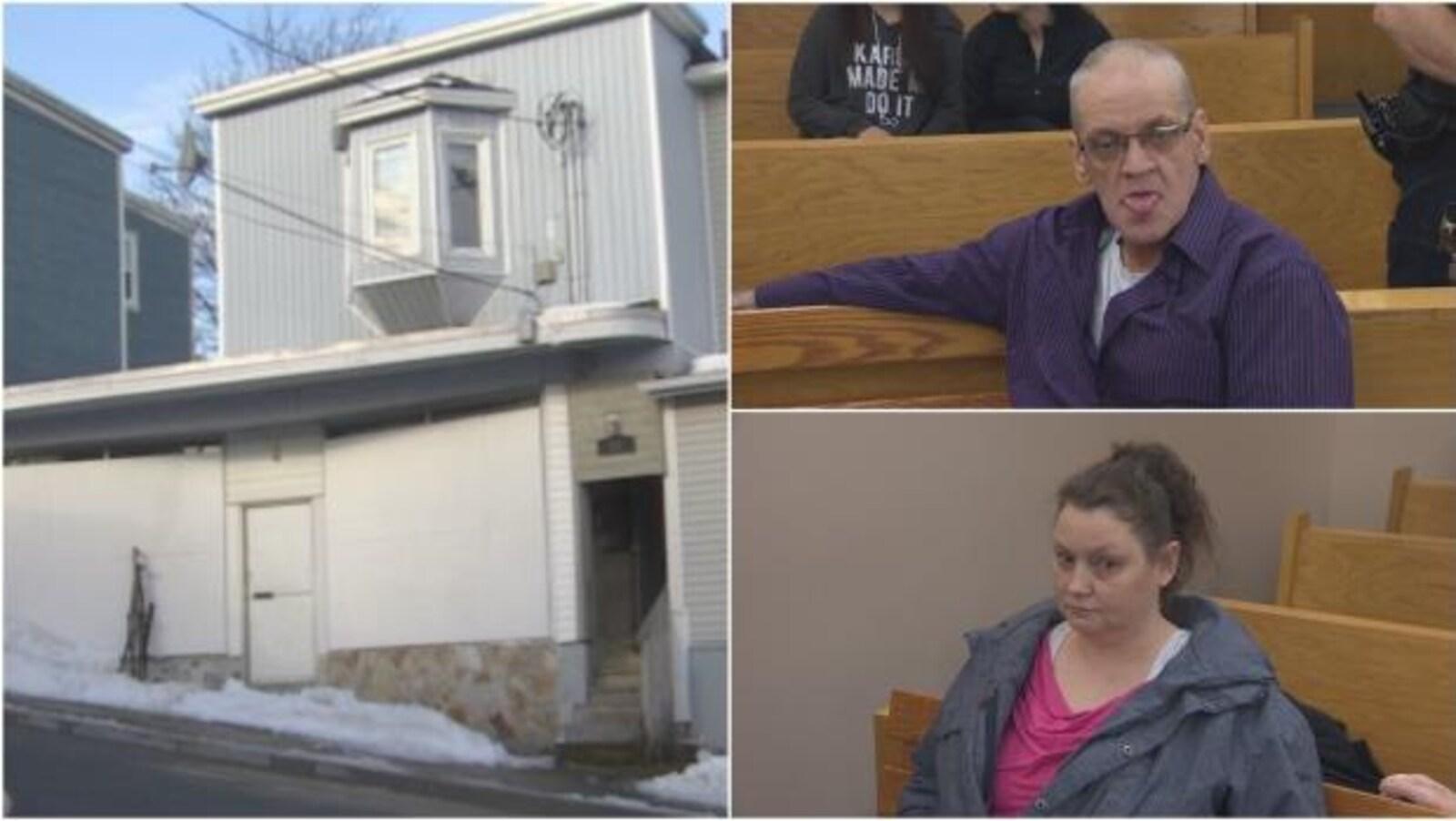 À gauche, la maison de la rue Springdale où l'agression a eu lieu. En haut à droite, Harold Noftall est assis à la cour provinciale. En bas à gauche, Mabel Stanley est aussi assise sur un banc de la cour provinciale.
