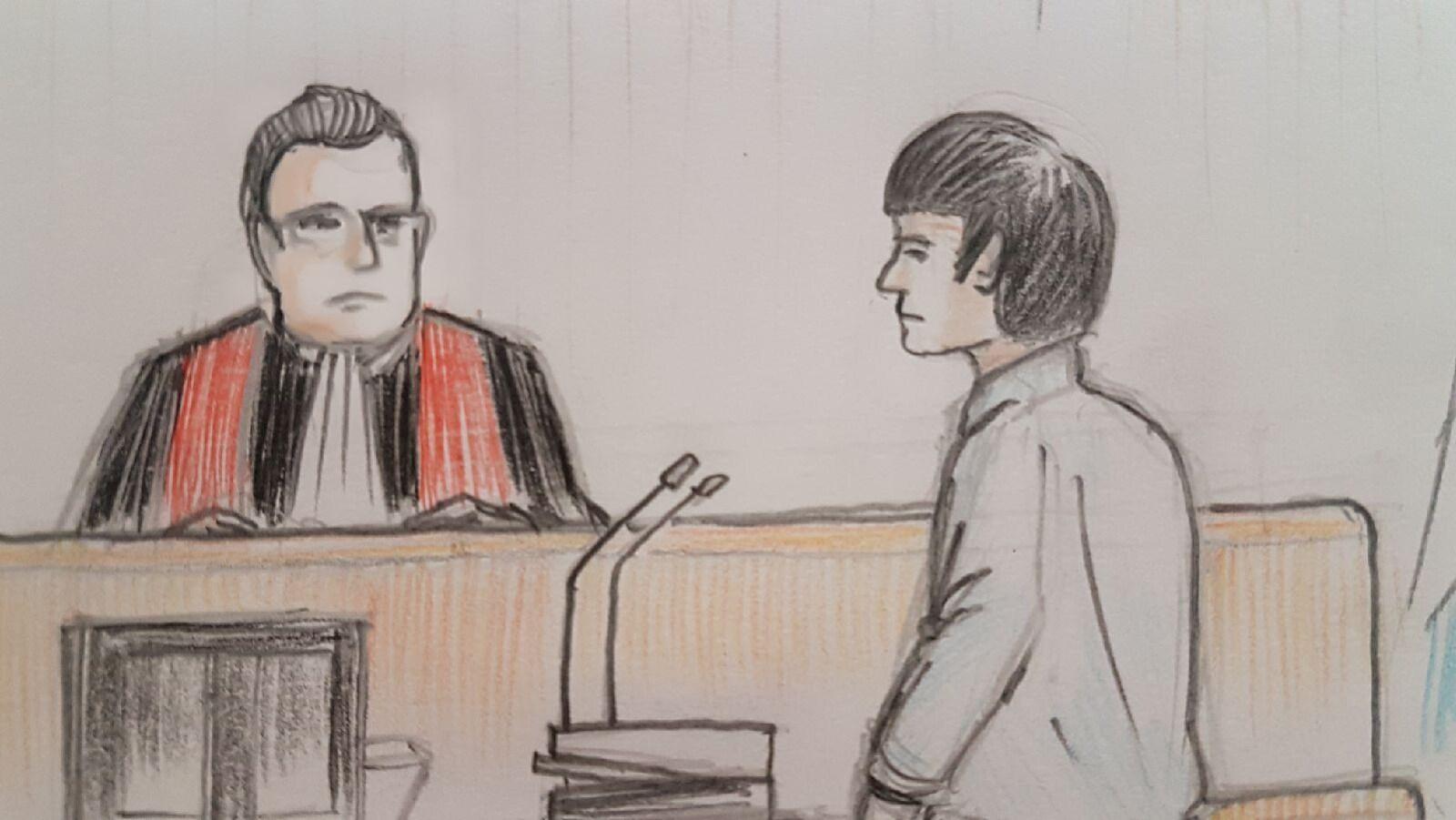 Une illustration d'Alexandre Bissonnette et du juge lors des procédures le 26 mars 2018