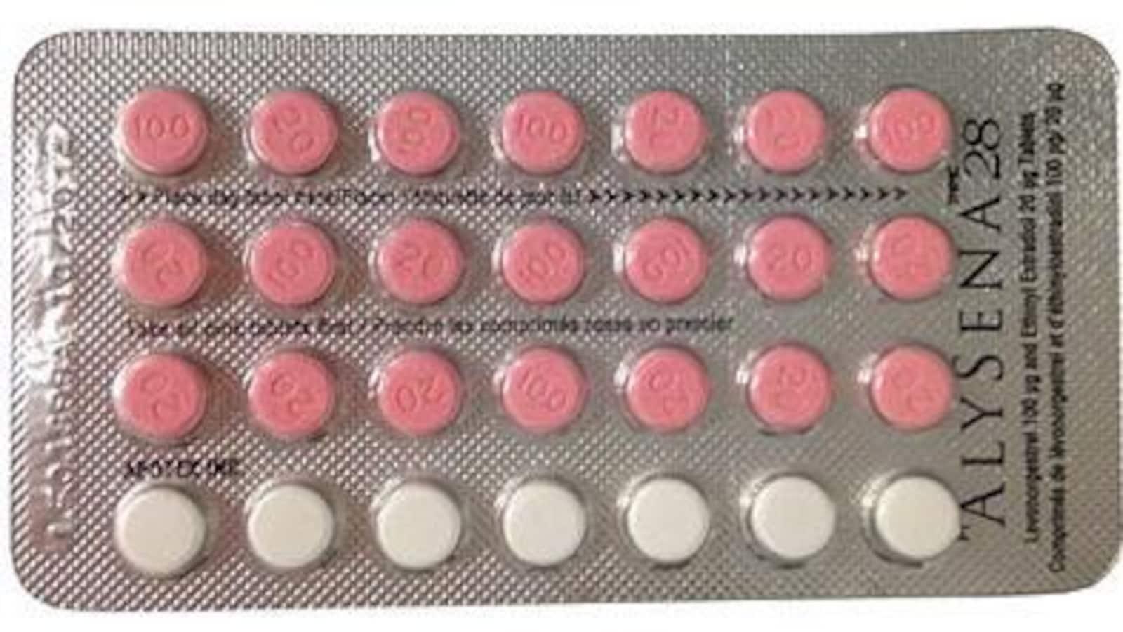 Une plaquette de pilules anticonceptionnelles Alysena 28.