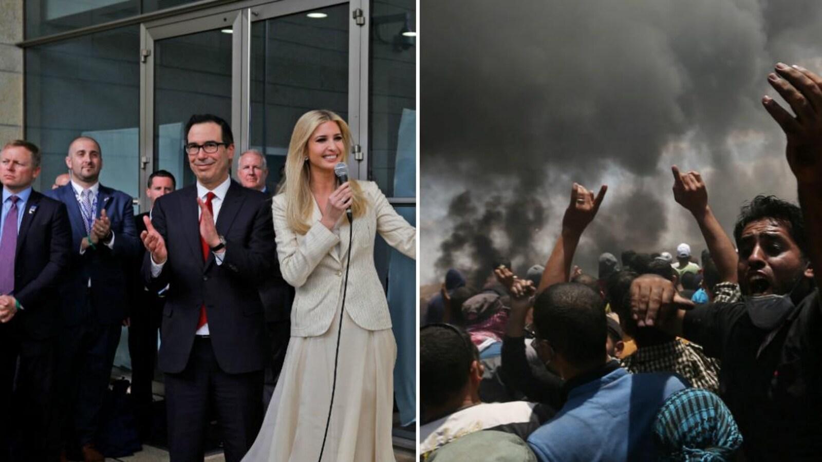 Les États-Unis inaugurent en grande pompe leur ambassade à Jérusalem le 14 mai 2018 (à gauche), pendant que des milliers de Palestiniens manifestent à la frontière entre la bande de Gaza et Israël (à droite).