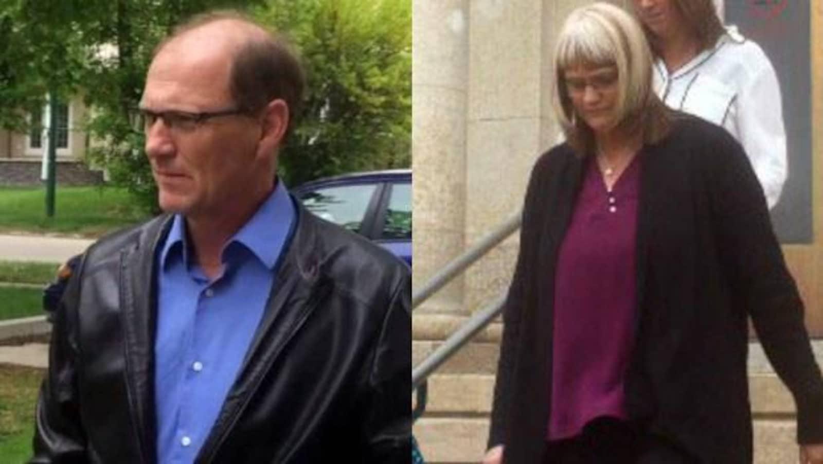 moitié droite : Un homme au visage grave, avec lunettes et veste en cuir.  moitié gauche : une femme au visage grave descend des escaliers.