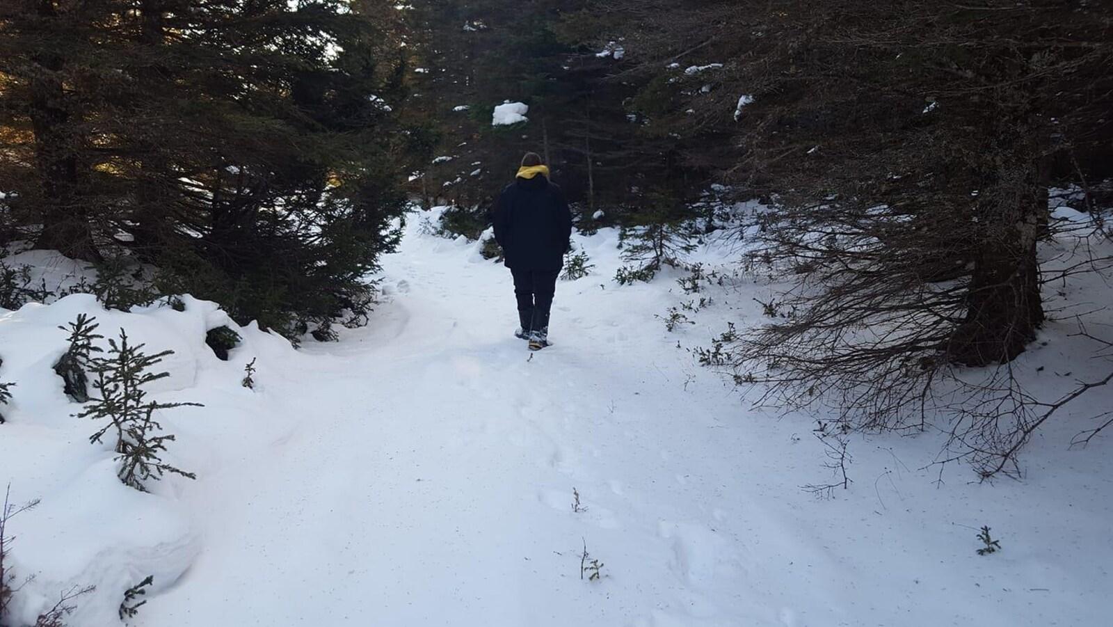 Le jeune homme est de dos, dans un paysage enneigé.