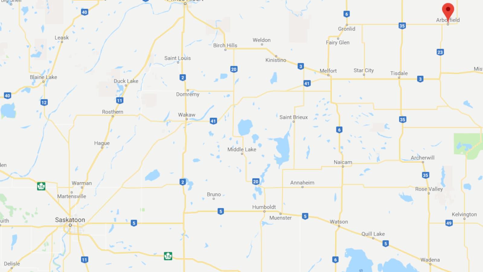 Carte de la région d'Arborfield.