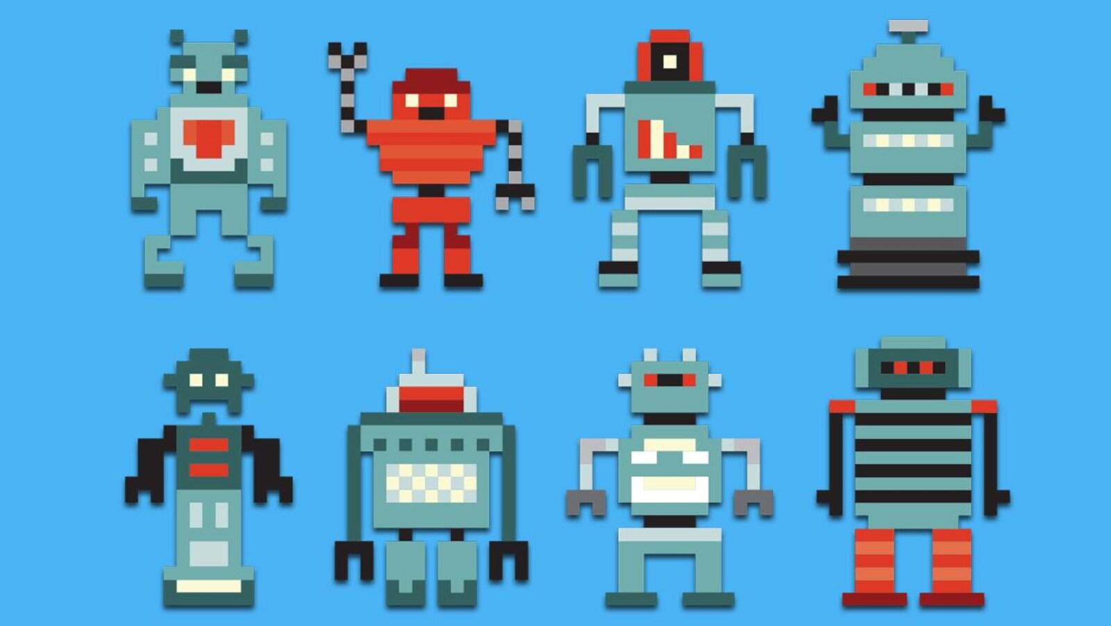 Nous voyons une illustration de huit robots style jeux vidéos.