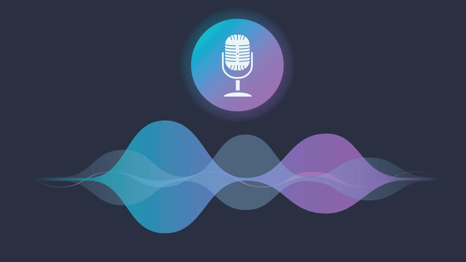 Illustration du concept d'un assistant vocal personnel, avec un microphone et des ondes.
