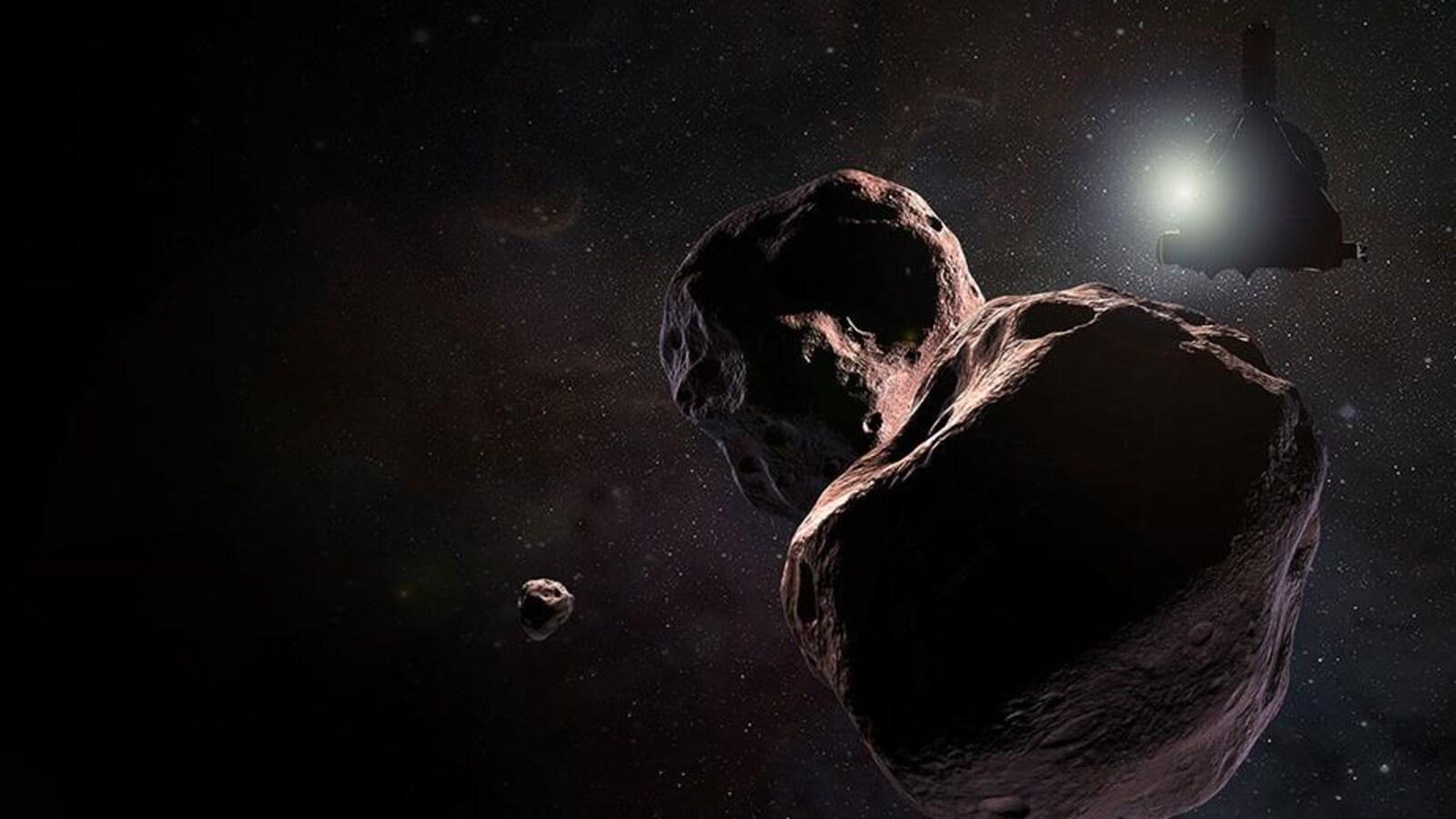 Impression artistique de l'astéroïde 2014 MU69 et de la sonde New horizons.