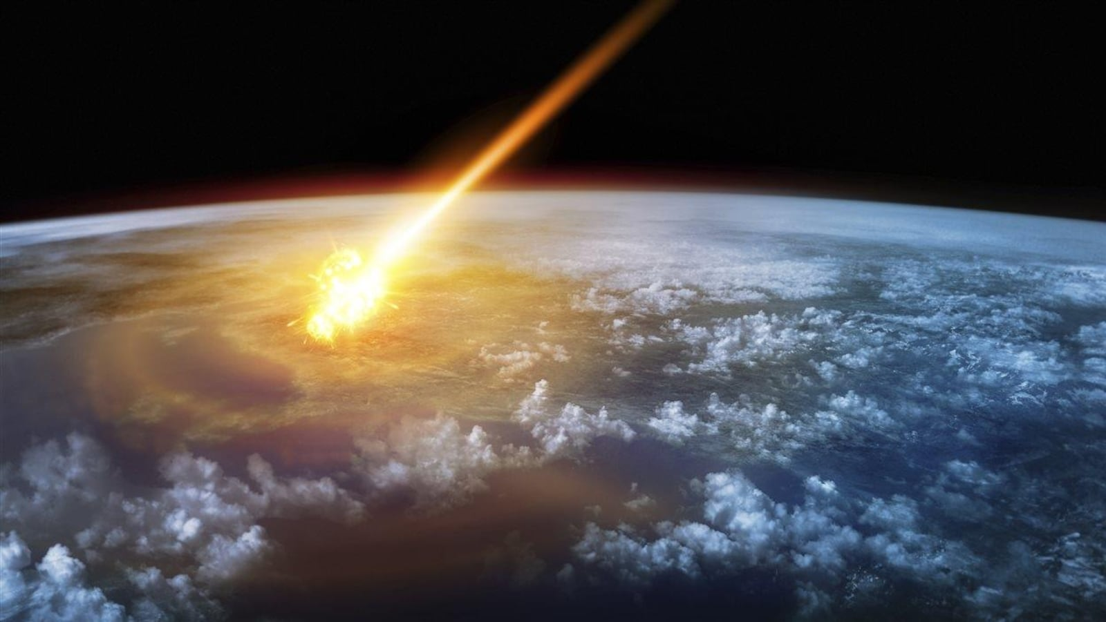 Représentation artistique d'un astéroïde qui frappe la Terre.
