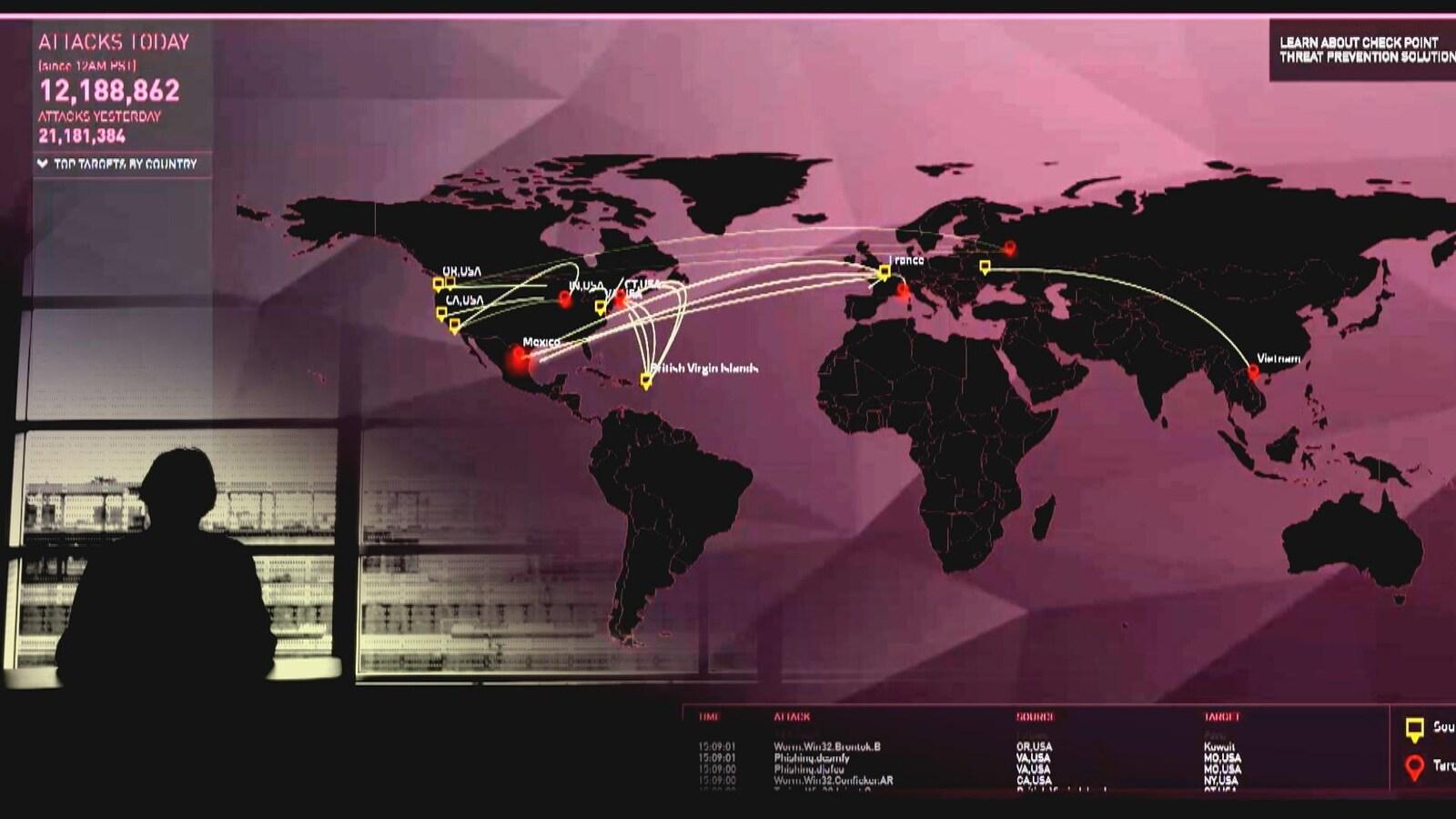 On voit une carte du monde représentant les lieux d'origine et les cibles de cyberattaques en temps réel.