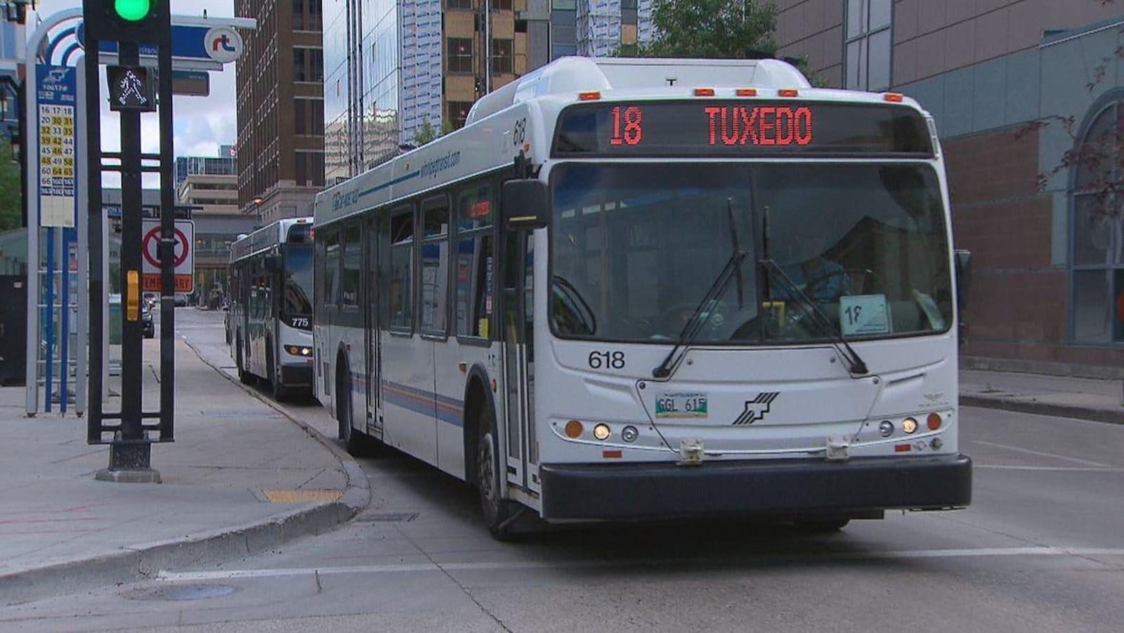 Un autobus de l'entreprise Winnipeg Transit prêt à démarrer à une intersection.