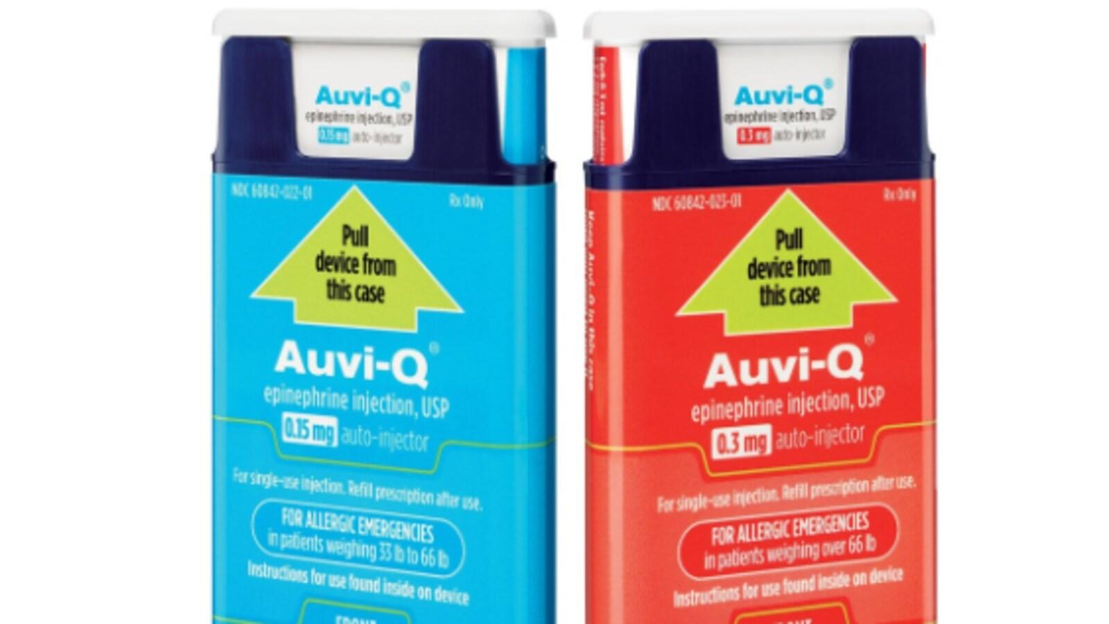 Deux contenants du médicament Auvi-Q.