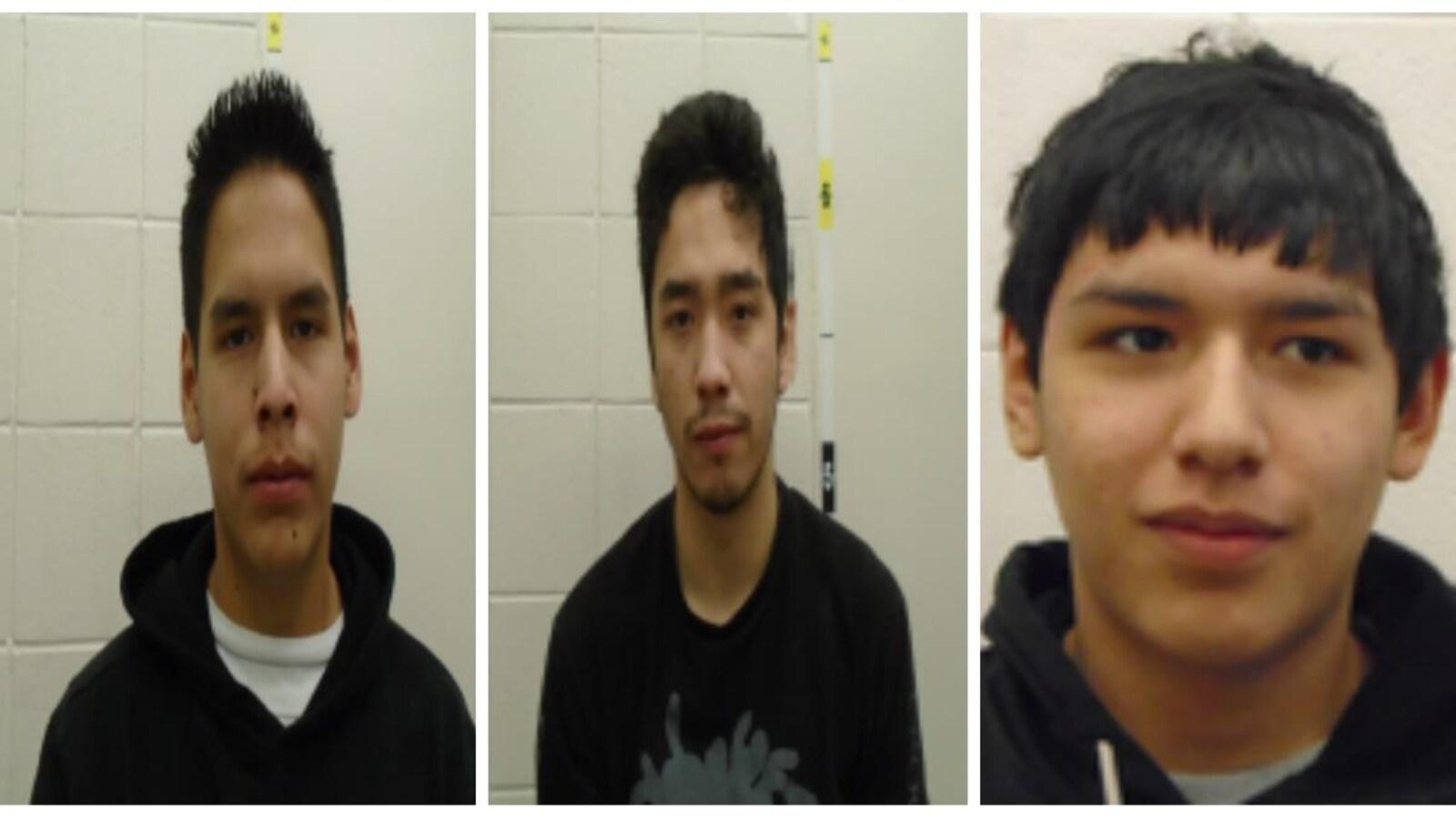 Les photos d'arrestation de trois jeunes.